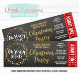 Oh Starry Nights Christmas Party Ticket Invitation