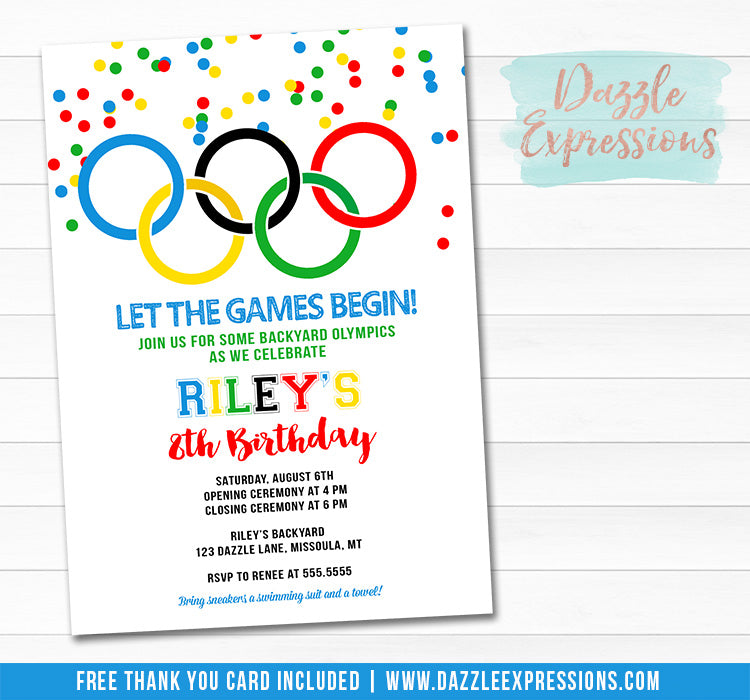 Olympic Games Invitation - FREE thank you card included