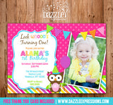 Owl Birthday Invitation 2 - Thank You Card Included