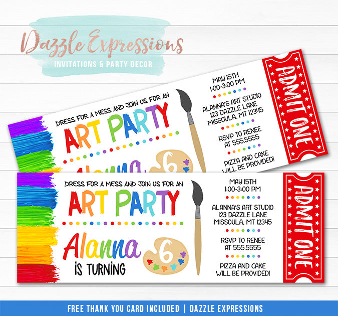 Painting Art Party Ticket Invitation - FREE thank you card included