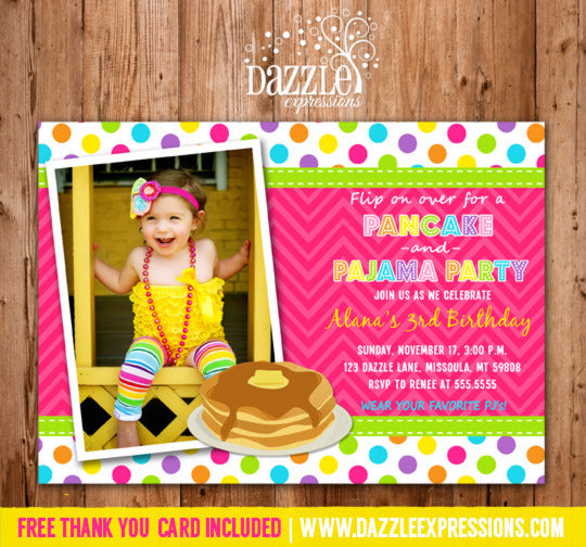 Pancakes and Pajamas Birthday Invitation 1 - Thank You Card Included