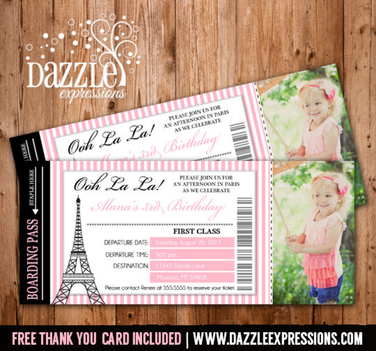 Paris Boarding Pass Birthday Invitation 2 - FREE thank you card included