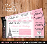 Paris Boarding Pass Birthday Invitation 1 - FREE thank you card included