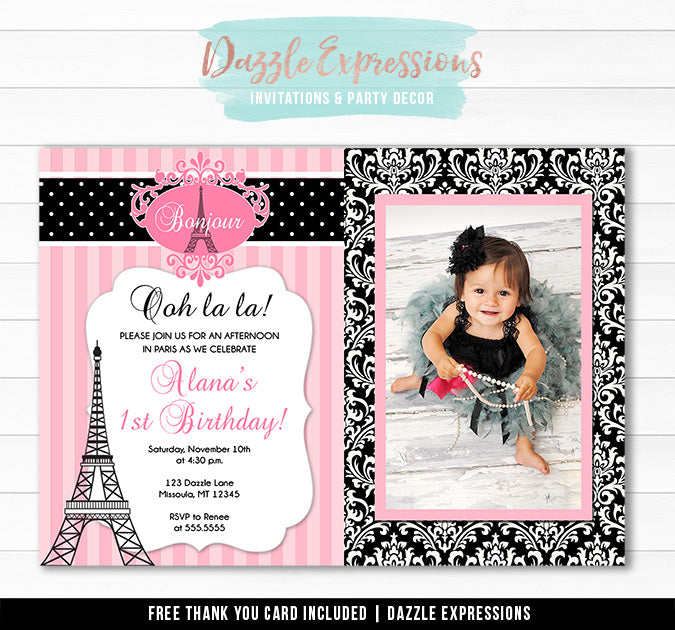 Paris Birthday Invitation 1 - Thank You Card Included