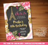 Paris Floral and Gold Invitation 4 - FREE thank you card included