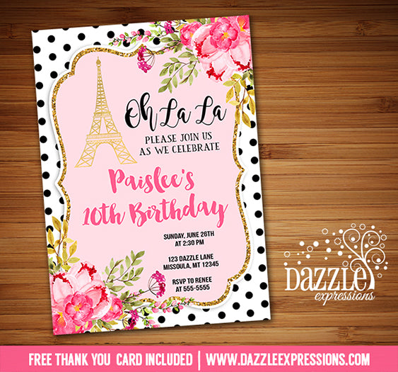 Paris Floral and Gold Invitation 6 - FREE thank you card included