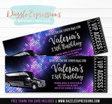 Party Bus Ticket Invitation 1 - FREE thank you card included