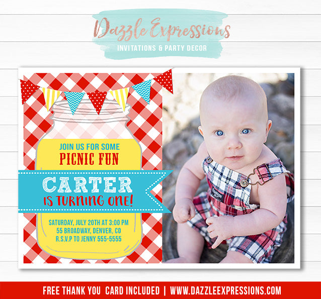 Picnic Birthday Invitation 2 - FREE thank you card included