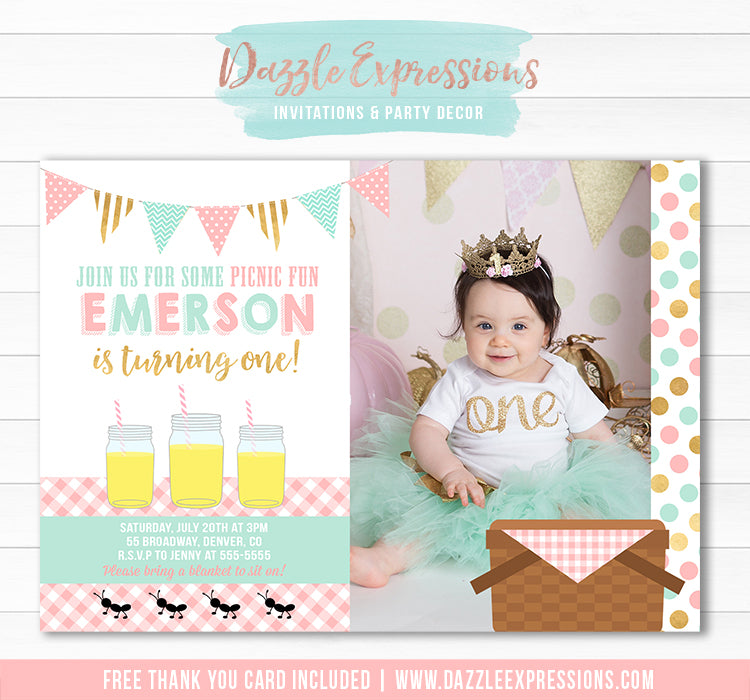 Picnic Birthday Invitation 3 - FREE thank you card