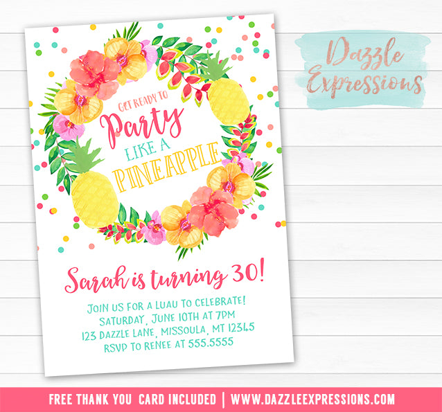 Pineapple Luau Birthday Invitation 2 - FREE thank you card