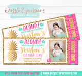 Pineapple Luau Ticket Invitation 2 - FREE thank you card