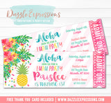 Pineapple Luau Ticket Invitation 3 - FREE thank you card