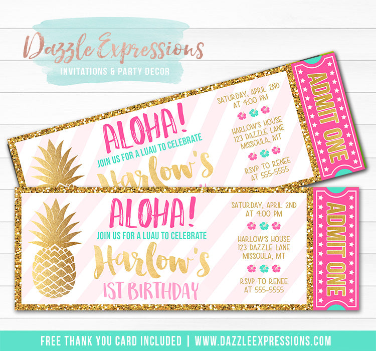 Pineapple Luau Ticket Invitation 1 - FREE thank you card