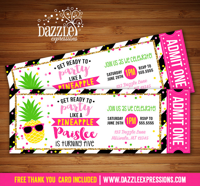 Pineapple Ticket Invitation - FREE thank you card