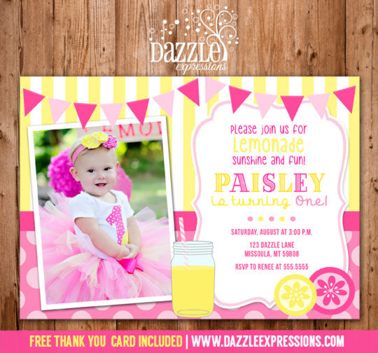 Pink Lemonade Invitation 4 - FREE thank you card included