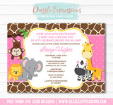 Jungle Baby Shower Invitation 2 - FREE thank you card included