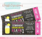 Pink Lemonade Chalkboard Ticket Invitation 1 - FREE thank you card included
