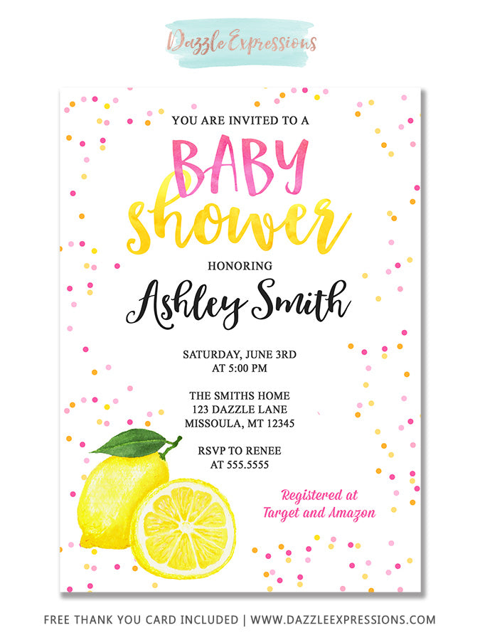 Pink Lemonade Watercolor Baby Shower Invitation - FREE thank you card