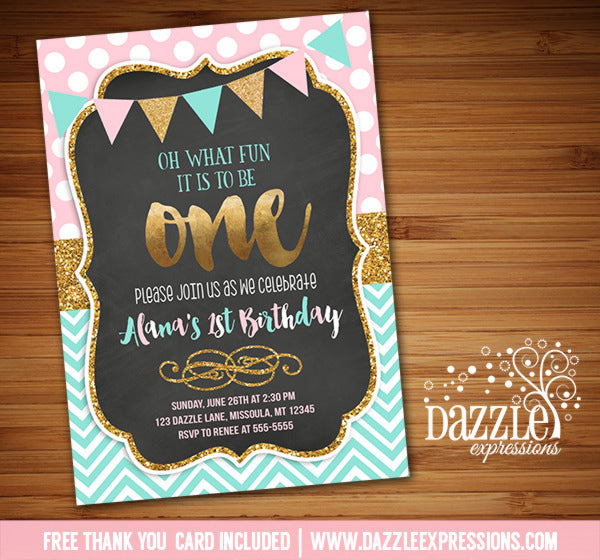 Pink Mint and Gold Chalkboard Birthday Invitation 2 - FREE thank you card