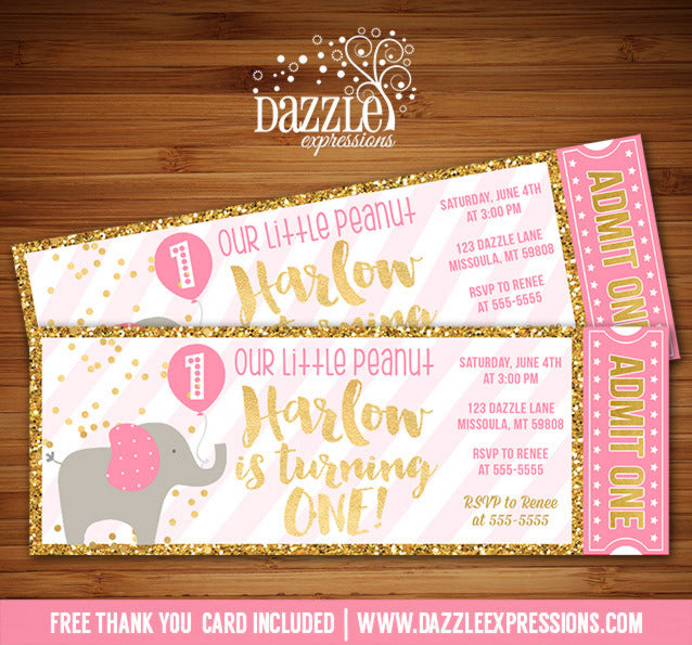 Pink and Gold Elephant Ticket Invitation - FREE thank you card included