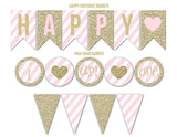 Pink and Gold Glitter Complete Party Package - Printable