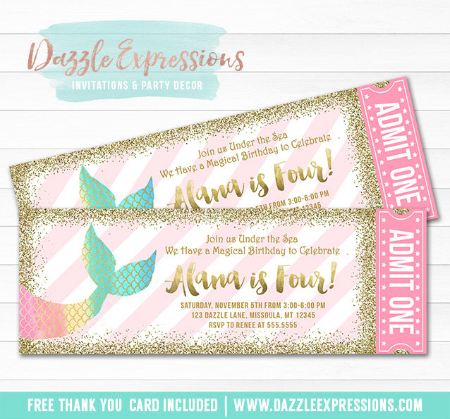 Mermaid Glitter Ticket invitation 1 - FREE thank you card included