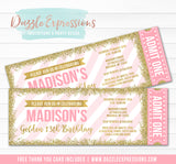 Pink and Gold Glitter Ticket Invitation 2 - FREE thank you card include