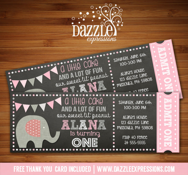 Elephant Chalkboard Ticket Invitation 2 - FREE thank you card include
