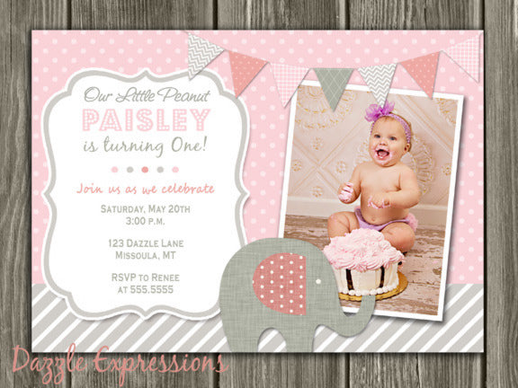 Elephant Birthday Invitation 1 - Pink and Gray - Thank You Card Included