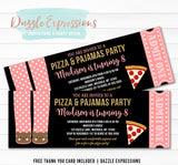 Pizza and Pajamas Ticket Invitation 1 - FREE thank you card