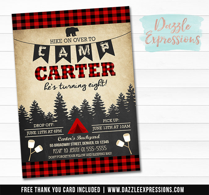 Plaid Camping Birthday Invitation - FREE thank you card