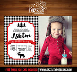Moose Plaid Invitation 2 - FREE thank you card included