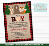 Plaid Woodland Sprinkle Baby Shower Invitation - FREE thank you card