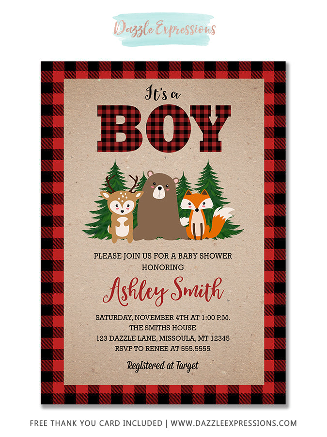 Plaid Woodland Baby Shower Invitation 3 - FREE thank you card