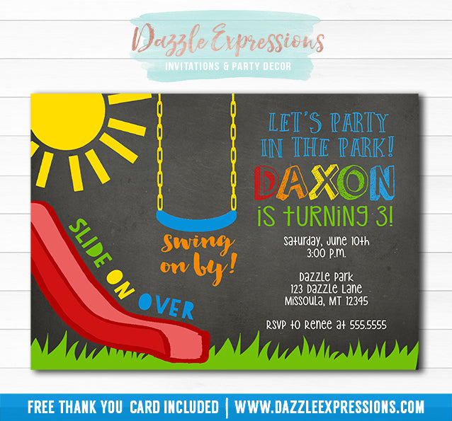 Park or Playground Chalkboard Invitation - FREE thank you card included