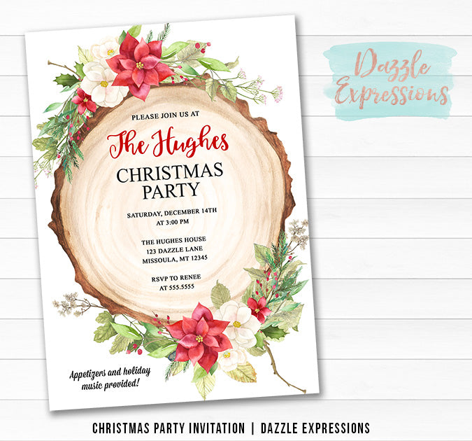 Poinsettia Rustic Woodland Christmas Party Invitation