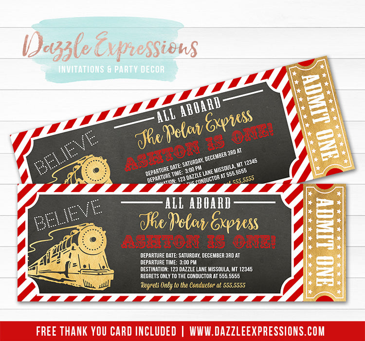 Polar Express Ticket Invitation 3 - FREE thank you card