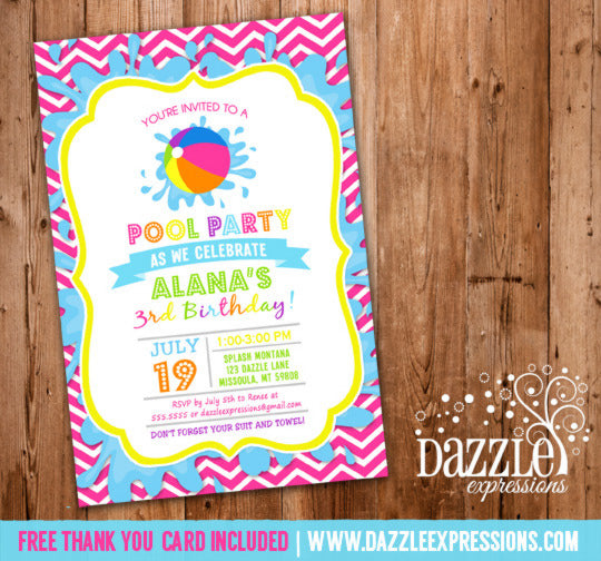 Pool Party Invitation 5 - FREE Thank You Card Included