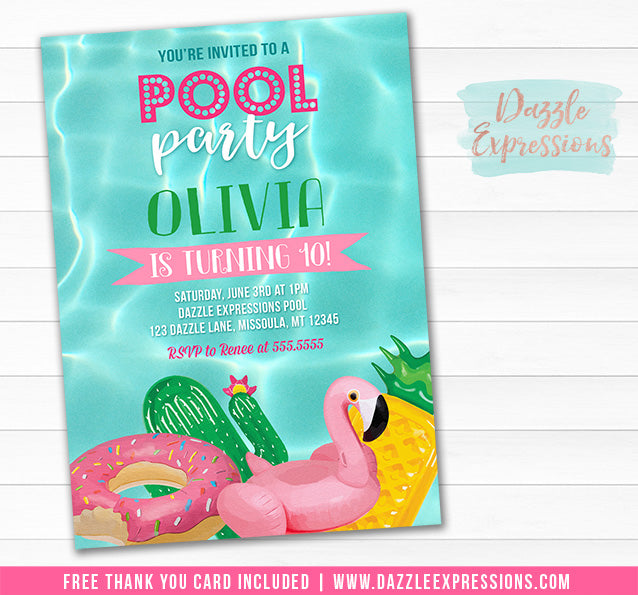 Pool Float Invitation 1 - FREE thank you card