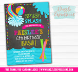 Pool Party Chalkboard Invitation 1 - FREE thank you card