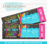 Pool Party Chalkboard Ticket Invitation 2 - FREE thank you card included