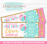 Pool Party Ticket - Pink and Gold - FREE thank you card