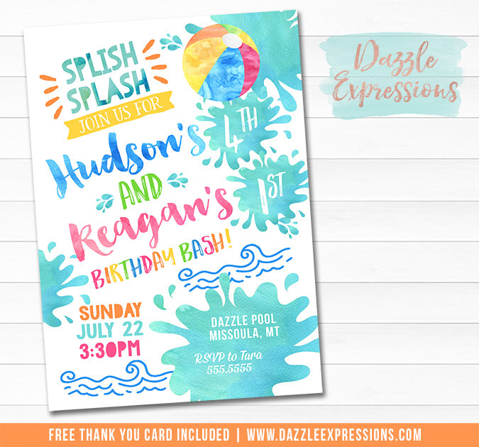 Pool Party Watercolor Invitation 6 - FREE thank you card