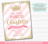 Princess Glitter Invitation 4 - FREE thank you card