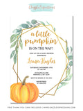 Pumpkin Baby Shower Invitation 2 - FREE thank you card