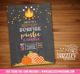 Gold Glitter Pumpkin Bonfire Chalkboard Invitation - FREE thank you card included
