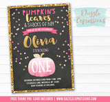 Pumpkin Chalkboard Birthday Invitation 6 - FREE Thank You Card included