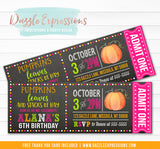 Pumpkin Chalkboard Ticket Invitation 2 - FREE thank you card included