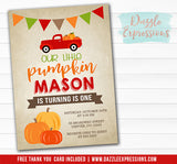 Pumpkin Birthday Invitation 6 - FREE Thank You Card included