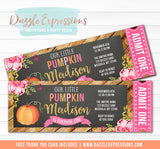 Pumpkin Patch Floral Chalkboard Ticket Invitation - FREE thank you card